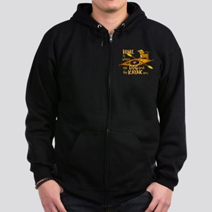 Dog and Kayak Zip Hoodie (dark)