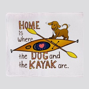 Dog and Kayak Throw Blanket