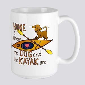 Dog and Kayak Large Mug