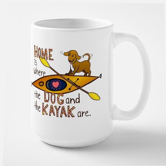 Dog and Kayak Large Mug