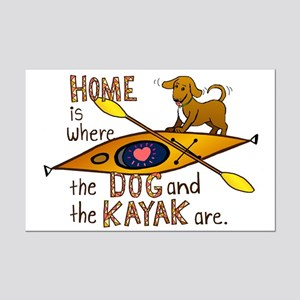 Dog and Kayak Mini Poster Print