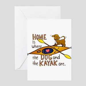 Dog and Kayak Greeting Card