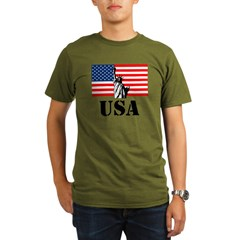 Statue of Liberty, US Flag T-Shirt