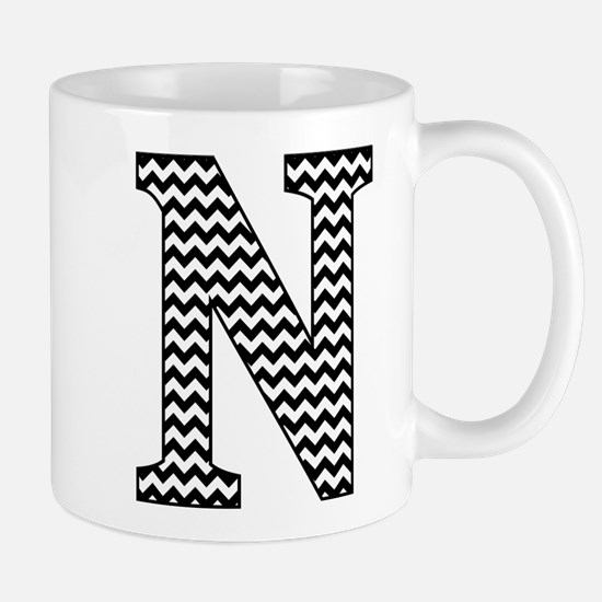 Black and White Chevron Letter N Monogram Mugs