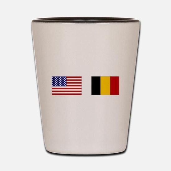 USA & Belgian Flags Shot Glass