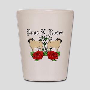 Pugs N Roses Shot Glass