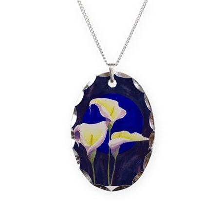 Cala Lillies watercolor Necklace Oval Charm
