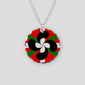 Basque Flag Lauburru Necklace Circle Charm