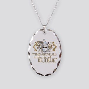 """Hamlet """"Be True"""" Quote Necklace Oval Charm"""