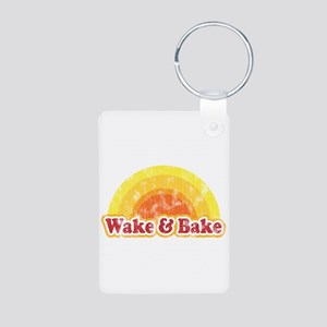 Wake and Bake Aluminum Photo Keychain