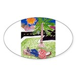 Reclining in Palms Park Sticker (Oval 50 pk)