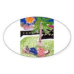 Reclining in Palms Park Sticker (Oval)