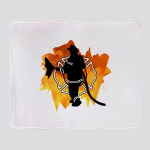 Firefighter Flames Throw Blanket