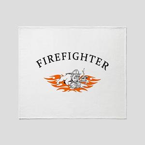 Firefighter Bull Dog Tough Throw Blanket