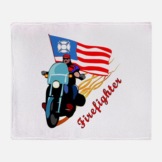 Firefighter Biker Throw Blanket