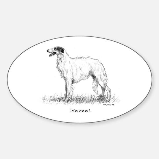 Borzoi Sticker (Oval)