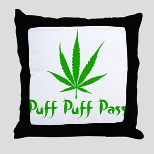 Puff Puff Pass - Leafy Throw Pillow