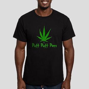 Puff Puff Pass - Leafy Men's Fitted T-Shirt (dark)
