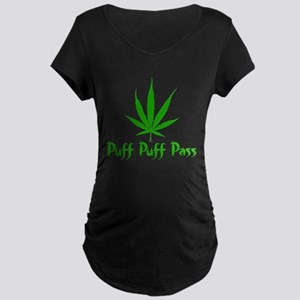 Puff Puff Pass - Leafy Maternity Dark T-Shirt