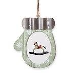 Childrens toy rocking horse design Mitten Ornament