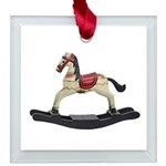 Childrens toy rocking horse design Square Glass Or