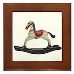 Childrens toy rocking horse design Framed Tile