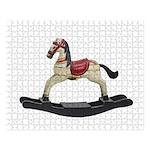 Childrens toy rocking horse design Large Puzzle