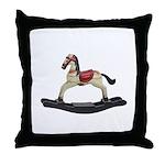 Childrens toy rocking horse design Throw Pillow