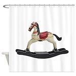 Childrens toy rocking horse design Shower Curtain
