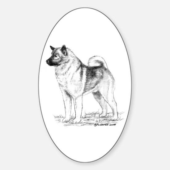 Norwegian Elkhound Sticker (Oval)