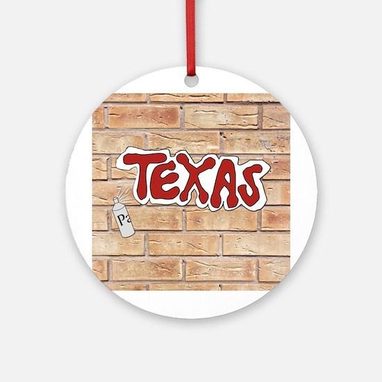 Texas On Brick Wall Ornament (Round)