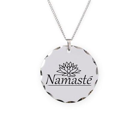 Lotus Namaste Necklace Circle Charm