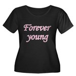 Forever Young Women's Plus Size Scoop Neck Dark T-