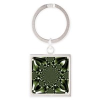 White Green Forest Leaf Petals Square Keychain