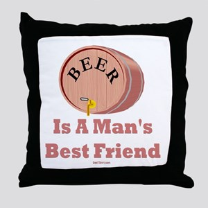 Beer Man's Best Friend Throw Pillow