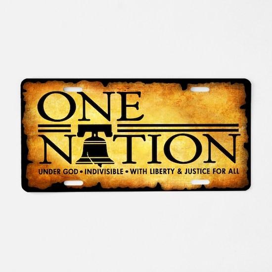 One Nation - Parchment Aluminum License Plate