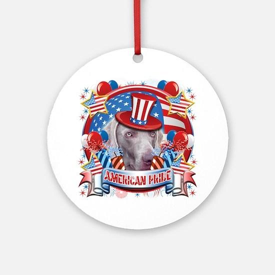 American Pride Weimer Ornament (Round)