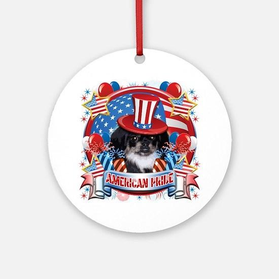 American Pride Pekingese Ornament (Round)