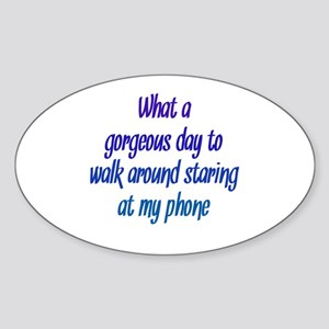 Staring at my Phone Sticker (Oval)