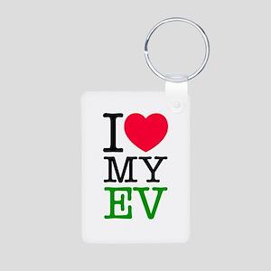 I Love My EV Aluminum Photo Keychain