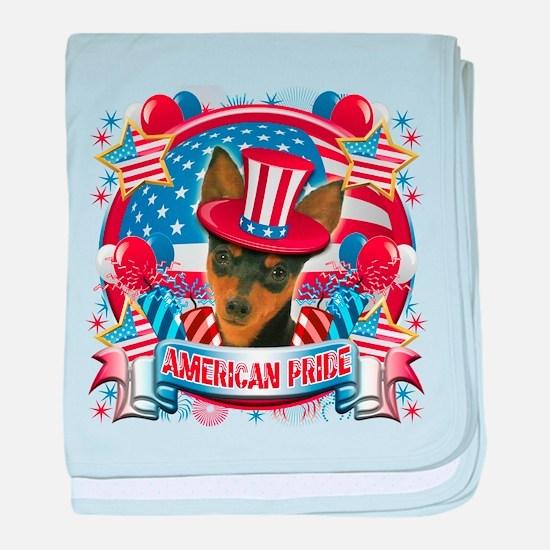 American Pride Min Pin baby blanket