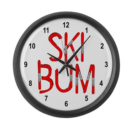 Ski Bum Skis Large Wall Clock