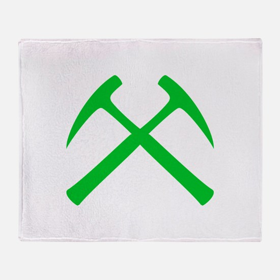 Crossed Rock Hammers (green) Throw Blanket