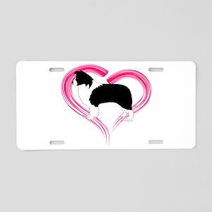 Heart Border Collies Aluminum License Plate