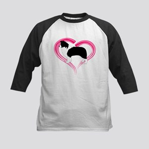 Heart Border Collies Kids Baseball Jersey