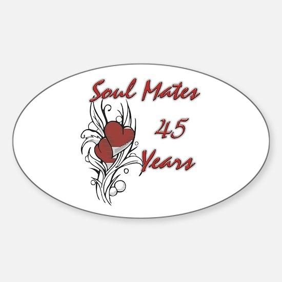 Cute 45 anniversary Sticker (Oval)