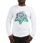 White Rose Tattoo Styled Long Sleeve T-Shirt