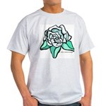White Rose Tattoo Styled Light T-Shirt