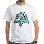 White Rose Tattoo Styled White T-Shirt