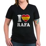 I Love Rafa Nadal Women's V-Neck Dark T-Shirt